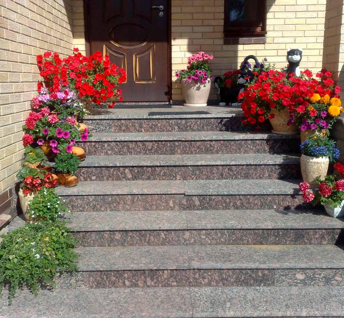 Размещение цветов в горшках на ступеньках крыльца